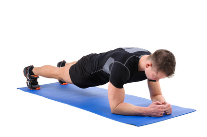 Young man doing Elbow Plank Workout